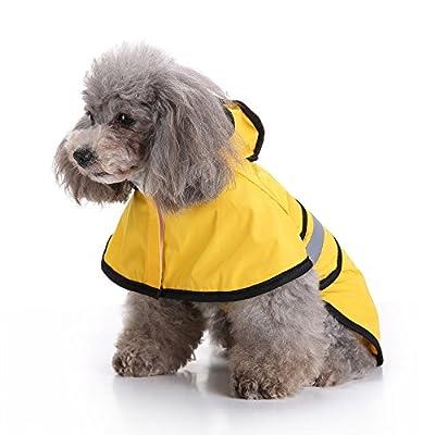 Pet Raincoat, Fashion Dog Hooded Rainy Days Slicker Yellow Raincoat Waterproof Puppy Dog Jacket Outdoor Coat