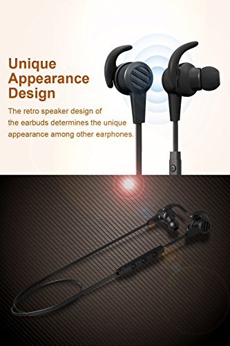 Large Product Image of Bluetooth Earphones, SoundPEATS Wireless Magnetic Sport Earphones( Bluetooth 4.1, High Fidelity Sound, APTX, 8 Hours Playtime, Secure Fit for Running)-Black