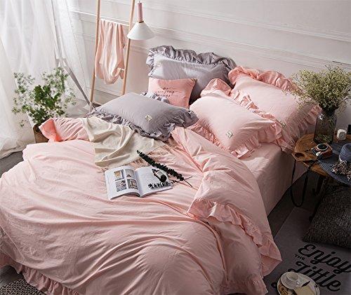 ピンク 韓式無地 ロマンティック二重荷葉形フリル 布団カバーセット 掛け布団カバー シーツ 枕カバー キング B07D74S5W8 キング|ピンク ピンク キング