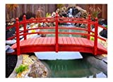 Redwood Garden Bridges 10 ft. Curved Double Rail Span Bridge (Curved Double Rail w Lights)
