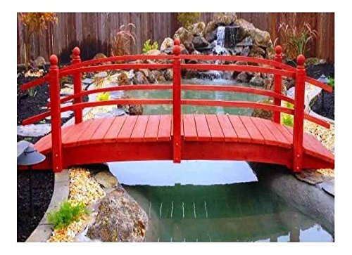 Redwood Garden Bridges 10 ft. Curved Double Rail Span Bridge (Curved Double Rail w Lights) Curved Rail Garden Bridge