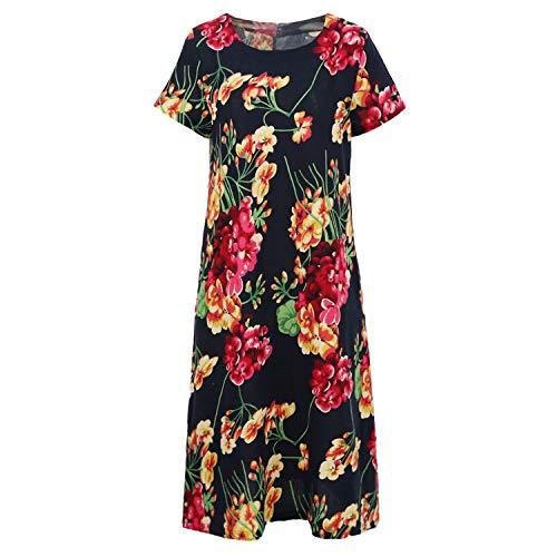 Plus Size Dress Female Vintage Women Cotton Dress Floral Print O-Neck Long Sleeve Casual Loose Retro Dress Blue ()