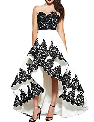 OYISHA Women's Sheer Neck High Low Prom Dresses Appliqued Formal Party Gowns 1PM