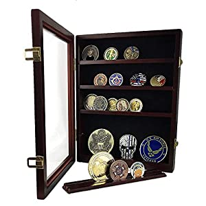 AtSKnSK Military Challenge Coin Display Holder Stand Rack Box with Closable Glass Door - Holds 50 to 60 Coins - Shelf Removable from Southkingze