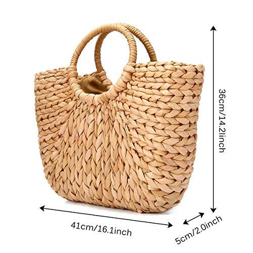 Bag Straw Handle Shopping Basket and for Casual Handbag Use Tote Summer JOSEKO Travel Shopper Womens Everyday Beach zOF4H5cygq