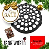Cast Iron Meat Rack/Trivet By Iron World | Hand Made, Black, Pre Seasoned | Free Bonus BBQ Recipes eBook