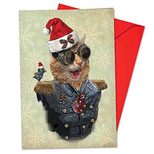 - 12 'Steampunk Cats Santa Hat' Boxed Christmas Cards with Envelopes 4.63 x 6.75 inch, Victorian Kitten Christmas Cards, Vintage Cat Portrait in Dandy Attire Cards, Feline Gentleman Cards B6554FXSG