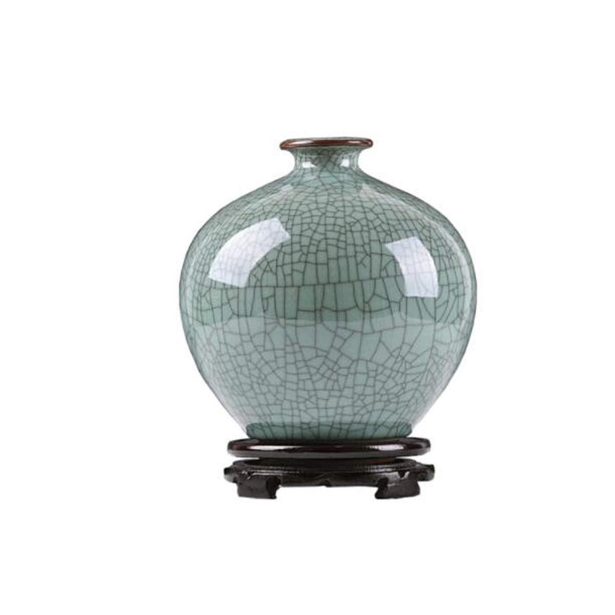 SHENGSHIHUIZHONG 景徳鎮セラミック花瓶の装飾、リビングルームの磁器の装飾、工芸品の装飾、ビーングリーンアンティークアイスクラックボトル、ビーングリーンの瓶、ビーンブルーフィッシュテールボトル 中華風 (Shape : E) B07SWYRWK6  E