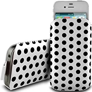 WHITE POLKA DOT PREMIUM PU LEATHER PULL FLIP TAB CASE COVER POUCH FOR HTC EXPLORER BY N4U ACCESSORIES