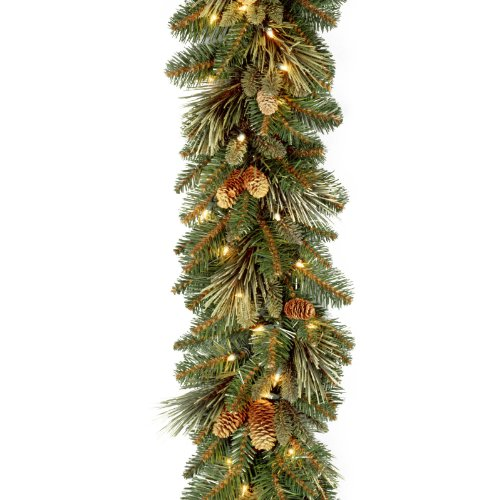 National Tree 9ft Carolina Pine Garland + Cones & Clear Lights (Large Image)
