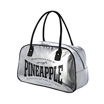 PINEAPPLE DANCEWEAR Stretch Twill Dance Gym Bag Silver With Black Contrast Logo