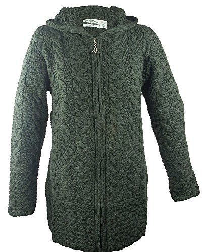 Irish Aran Knitwear 100% Irish Merino Wool Women's Long Hooded Zip Sweater With Pockets (XX Large, Army Green) (Cardigan Sweater Wool Irish)