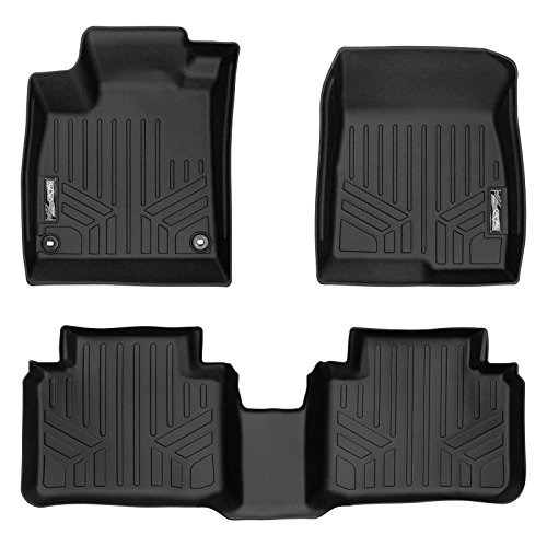 Honda Hybrid Sedan - SMARTLINER Floor Mats 2 Row Liner Set Black for 2018 Honda Accord Sedan