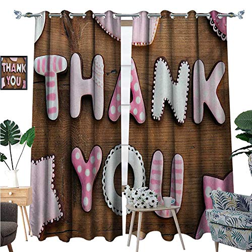 BlountDecor Thank You Patterned Drape for Glass Door Romantic Sweet Cookie Letters Sugar Candy on a Rustic Wood Table Image Waterproof Window Curtain W108 x L84 Pink White Brown
