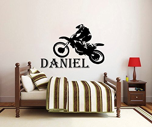Wall Decals Custom Personalized Name Children Gift Motocross Motorcycle Moto Sports Extreme Vinyl Sticker Wall Decor Murals Wall Decal by DecorimDecorWallDecal