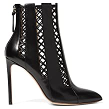 TDA Women's Stylish Pointed Toe Cut-out Leather Stiletto Ankle Boots