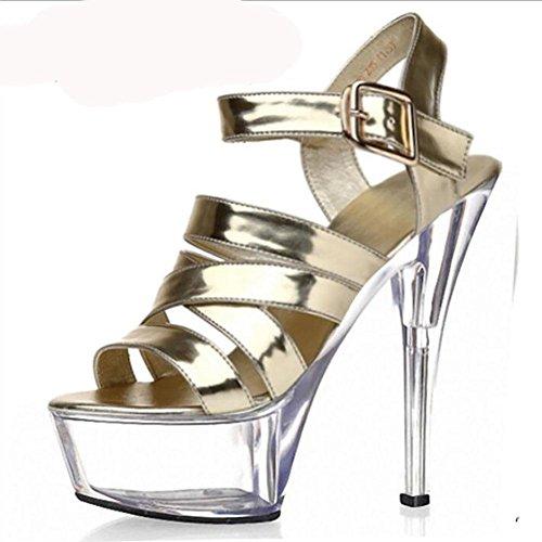 Mode Printemps Eté en cuir pour femme boucle de ceinture en cristal creux haut Heeled Sandals luxe Waterproof Chaussures Or Couleur unique , gold , 38