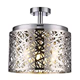 Wtape Vintage 3 Light Crystal Chrome Finish Semi-Flush Mount Ceiling Light, Lighting Fixture with Metal Shade for Living Room Bedroom Dining Room Hallway