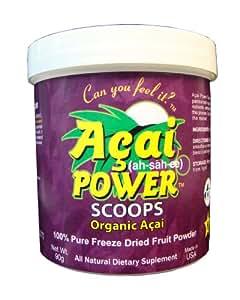 100% Organic Acai Freeze Dried Fruit Powder – Acai Power Scoop (90 Grams) – Natural Antioxidant
