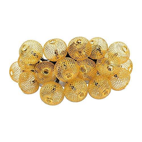Easternstar Solar LED Metal Iron Lanterns String Lights, Outdoor 20 LED 15.7ft/4.8m Xmas Lantern Lights for Patio Lawn Landscape Garden Home Weddings(Warm White) by Easternstar