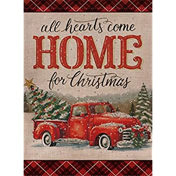 Selmad Home Decorative Christmas Garden Flag Red Truck Double Sided, Rustic Quote House Burlap Yard Flag Xmas Pickup, Outside Winter Holiday Yard Decorations, Vintage Seasonal Outdoor Flag 12 x 18