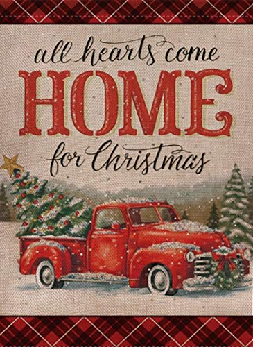 Selmad Home Decorative Christmas Garden Flag Red Truck Double Sided, Rustic Quote House Burlap Yard Flag Xmas Pickup, Outside Winter Holiday Yard Decorations, Vintage Seasonal Outdoor Flag 12 x 18 (Christmas Burlap With Decor)