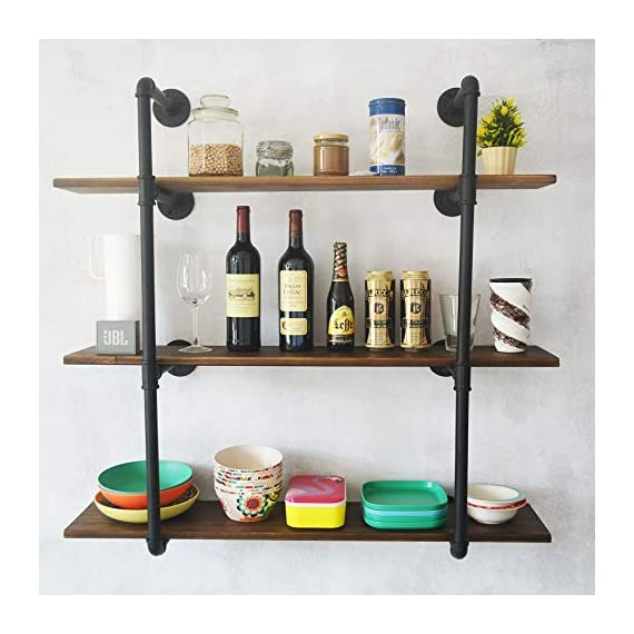Puncia 48in Pipe Solid Wood Heavy Duty Kitchen Book Wall Floating Shelves, Long Wall Wooden Kitchen Bookcase Shelf, Farmhouse Decor Display Shelf (48in8in0.8in3Tiers) - ★ Super Practical:Our 3 Tiers Long and Cool Looking Industrial Pipe Storage Shelves, Adds an Vintage Style and More Vertical Storage to Your Kitchen ,Living Room, Bedroom or Office Space.This Floating Wooden Pipe Wall Shelves is Suitable for Store Books, Decorations, Potting and Any Other Small Items, It Ban Saving Much More Your Room Space . ★ Super Long : Pine Board Size: 48'L x 8''W x 0.8''H. Item Display Size 48''L x 37''W x 10''D. Height Between Shelves: 12-Inch Without Adjustable. Pipe Size:⌀1in .You Can Store More Item On This Shelf.We take much more new room space .You will have more space to take your book,metal ,toys,model and others. ★ Nature & Health:The Planks Made of Pine Boards, Each Board With Different Tree Texture ,You Will closer nature.We use health Paint for board and you won't have bad smell in your room. - wall-shelves, living-room-furniture, living-room - 51Cw02 BaIL. SS570  -