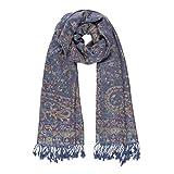 Melifluos Women Scarves Parsley Design Elegant Long Cashmere Feeling Thick Shawl (Blue)