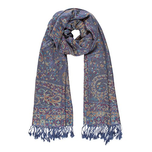 Melifluos Women Scarves Parsley Design Elegant Long Cashmere Feeling Thick Shawl (Blue) by MELIFLUOS DESIGNED IN SPAIN