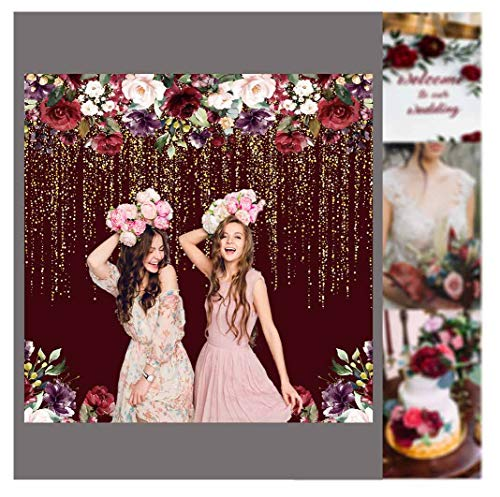 Funnytree 6x6ft Burgundy Red Flowers Backdrop Golden Glitter Floral Birthday Party Photography Background Bachelorette Bridal Shower Wedding Girl Adults Anniversary Decorations Banner Photo Studio]()