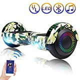 Hoverboard Self Balancing Scooter 6.5'' Two-Wheel Self Balancing Hoverboard with Bluetooth Speaker and LED Lights Electric Scooter for Adult Kids Gift UL 2272 Certified Fun Edition - Woodland Camo