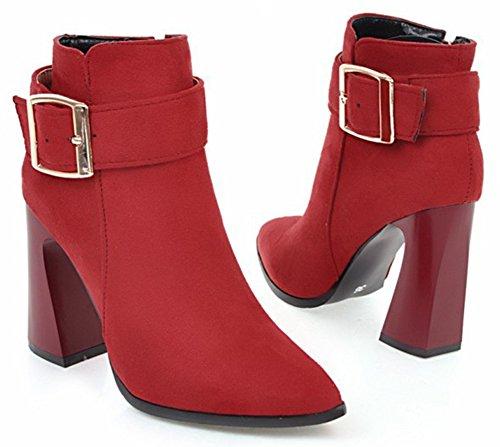 Aisun Kvinner Inne Zippe Spenne Stropp Dressy Spisse Tå Sokker Høye Chunky Hæler Ankel Boots Med Glidelås Rød