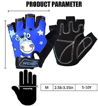 Kids Bike Gloves Toddler Kids Cycling Gloves Children Half Finger Outdoor Sports Gloves Breathable Fingerless Anti Slip Shock Absorbing Padded Riding Gloves for Boys Girls