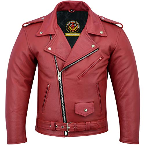 (Leather Jackets for Men Biker Cafe Racer with Patch Access Lining, Silver Eyelits, YKK Heavy Zips, Studs and Buckles Classic Cowhide Milled Motorcycle Jacket (RED, XL))