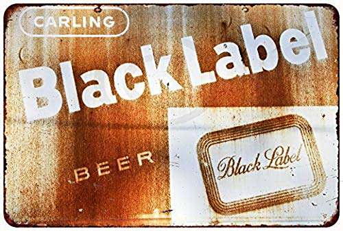 (KPSheng Rusty Carling Black Label Beer Vintage Reproduction Metal Sign 8 x 12)