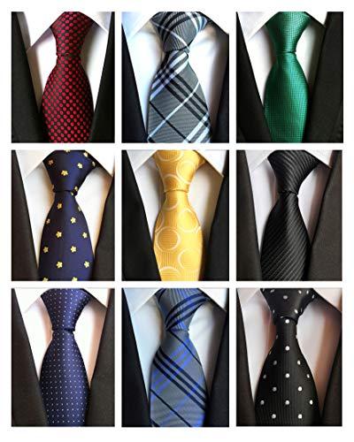 Classic Woven Tie - AVANTMEN 9 PCS Classic Men's Neckties Woven Jacquard Neck Ties Set (9 Pack-style E)