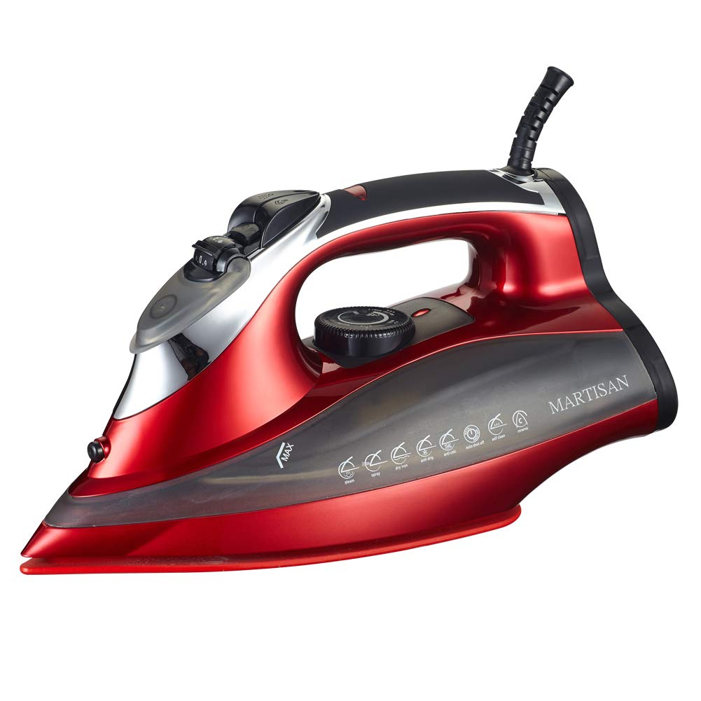 MARTISAN SG-5008 Super Hot 1800W Steam Iron with Nano-Ceramic Soleplate & Auto-Shut Off Full Function Iron, Red