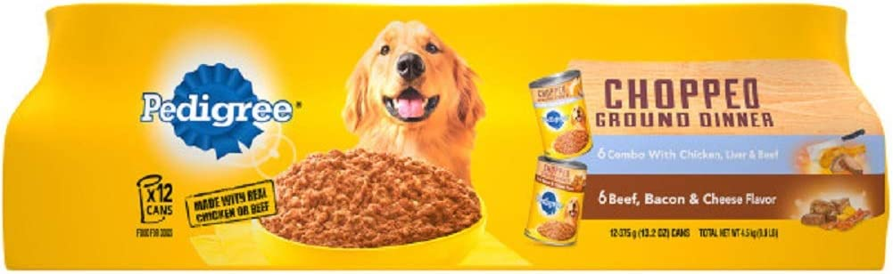Pedigree Chunky Ground Dinner Adult Wet Dog Food, 13.2 Oz. Cans