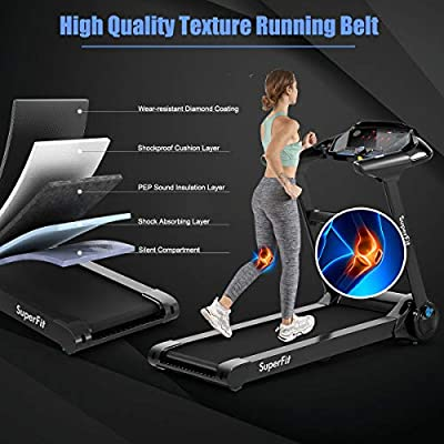 Goplus 2.25HP Large Electric Folding Treadmill, with 8-Stage Damping System, Large LED Touch Display and Bluetooth Speaker, Sports Car Appearance Running Walking Machine for Home Office Gym Use