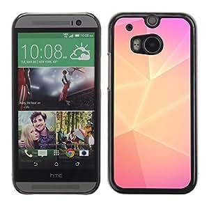 FlareStar Colour Printing Polygon Yellow Pink Lines Purple Clean cáscara Funda Case Caso de plástico para HTC One M8