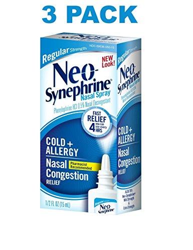 Spray Regular Formula (Neo-Synephrine Nasal Spray, REGULAR Formula, 0.5-Ounce (Pack of 3))