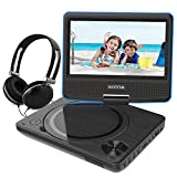 7.5 inch Portable DVD Player, Kids Swivel Screen, USB / SD Slot 4 Hours Rechargeable Battery Car Trip Use (Blue)