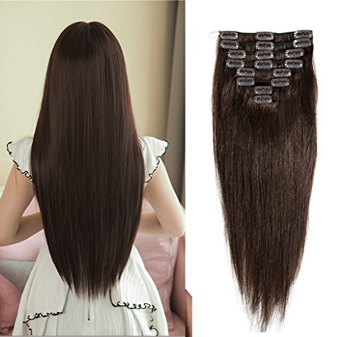 "Clip in 100% Remy Human Hair Extensions 10""-24"" Grade 7A Quality Full Head 8pcs 18clips Long Soft Silky Straight for Women Fashion 10"" / 10 inch 70g , #2 dark brown"