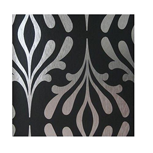 York Wallcoverings Candice Olson Inspired Elegance ND7019 Stardust Wallpaper, Onyx Black/Silver Foil