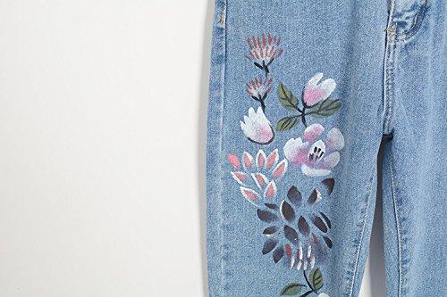 Oudan Stampa Zipper Jeans Da Pantaloni Estivi Azzurro Fiori Skinny Donna rwrF6g8q