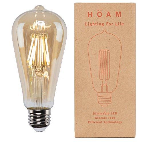 Edison Bulb from HOAM Lighting, Dimmable LED Filament, Antique Style, 8W LED 75W Incandescent Equivalent, 4000K Neutral White Color, ST18 ST64, E26 E27 Screw Cap, 110V 120V