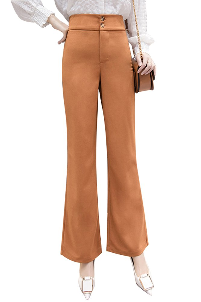 Smibra Womens Casual Solid Comfortable Fit Tummy Control High Waist Bootcut Pants