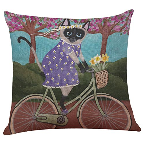 GBSELL Pillow Cover Riding Cat Pillow Case Sofa Throw Cushion Cover Party Home Decor (I)