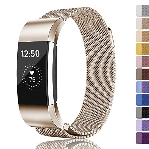 Fundro Compatible Fitbit Charge 2 Bands, Milanese Loop Stainless Steel Metal Replacement Accessories Bracelet Strap Unique Magnetic Lock Fitbit Charge 2 Women Men