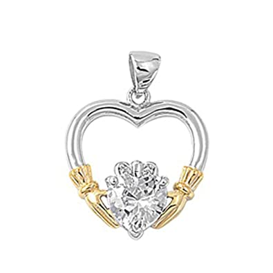 Heart Claddagh Pendant .925 Sterling Silver Charm